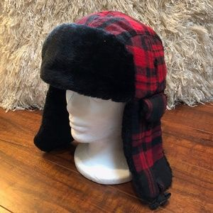 Grunge Red Black Plaid Ear Flap BEANIE Cap Hat
